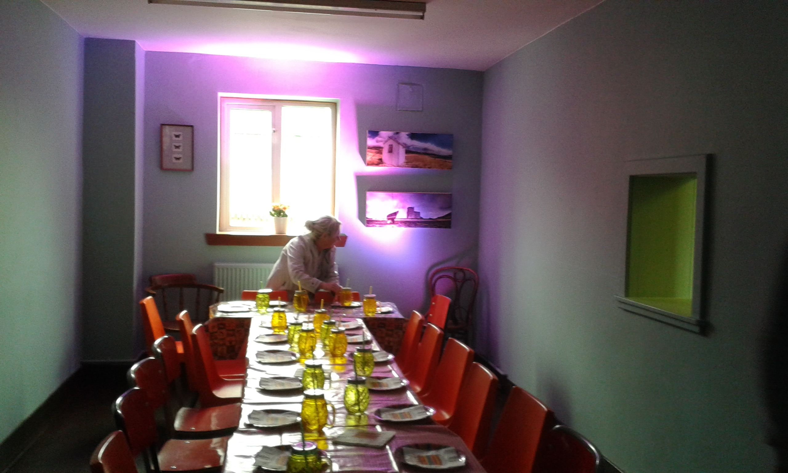 Lesser Hall set up for meal